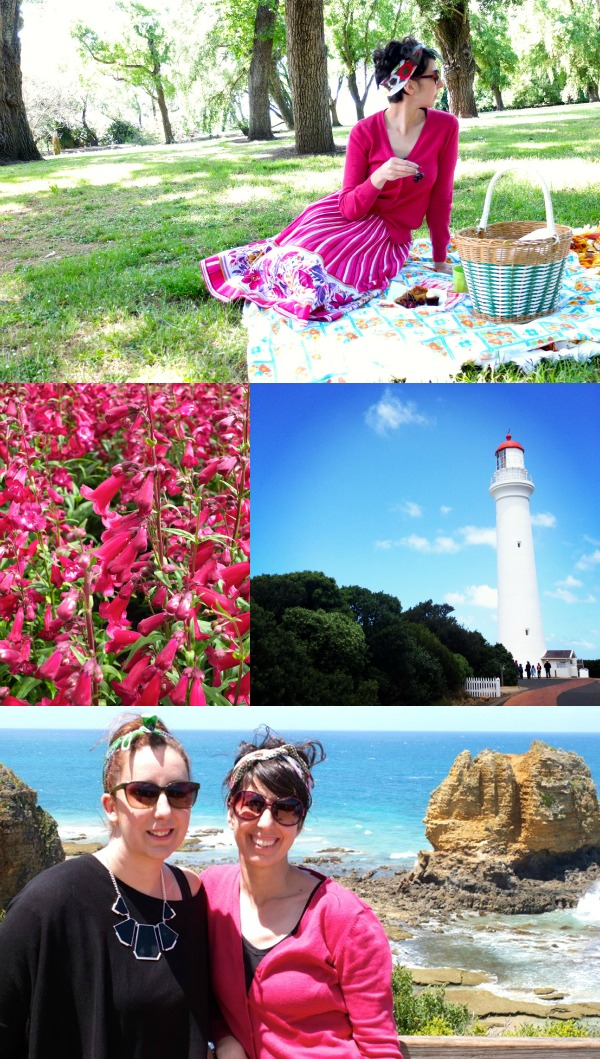 Lighthouse picnic pink flowers