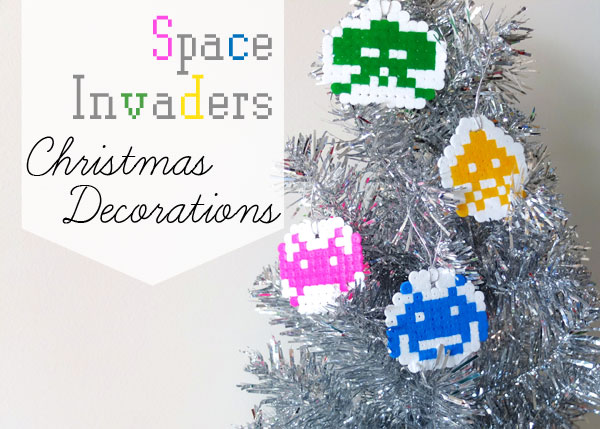 Space invader pixel ornament christmas decoration Hama bead
