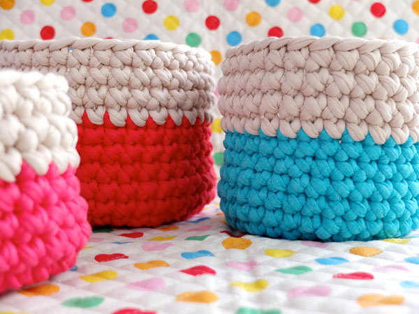 Color block crochet baskets neon