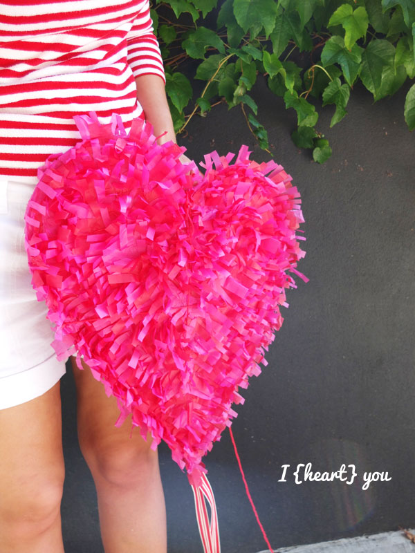 pink heart paper fringe kite DIY valentine craft romantic photo prop