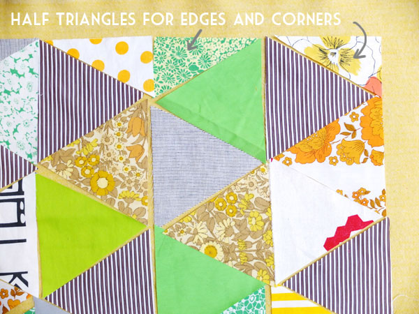 Cut half triangles for quilt edges