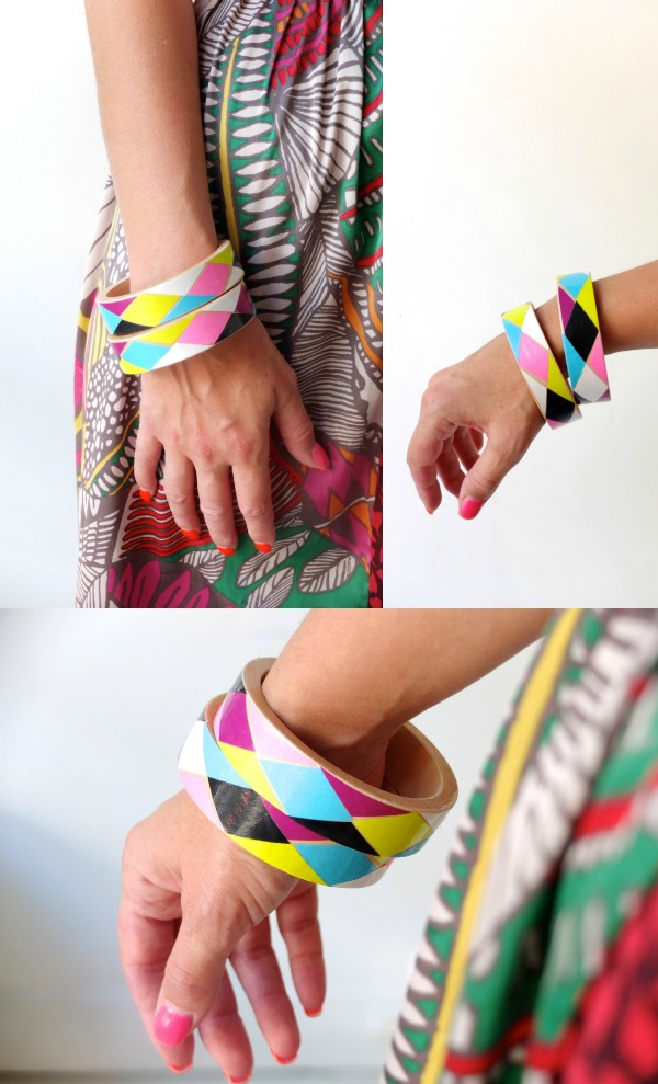 Colorful Harlequin Bangle design DIY decoupage