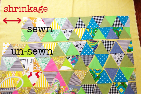 Trangle quilt in progress tutorial instructions