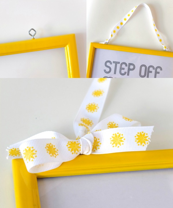 Make a pretty sign from an old photo frame