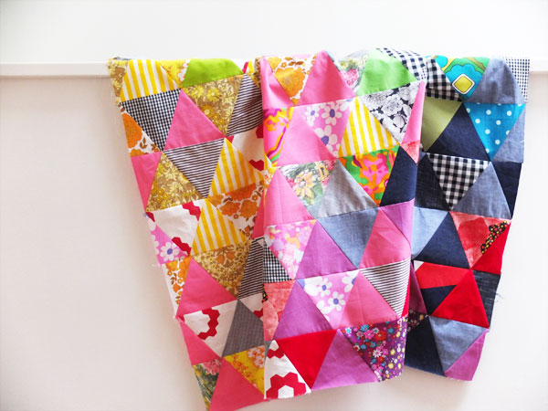 Triangle patchwork quilt top rainbow colours