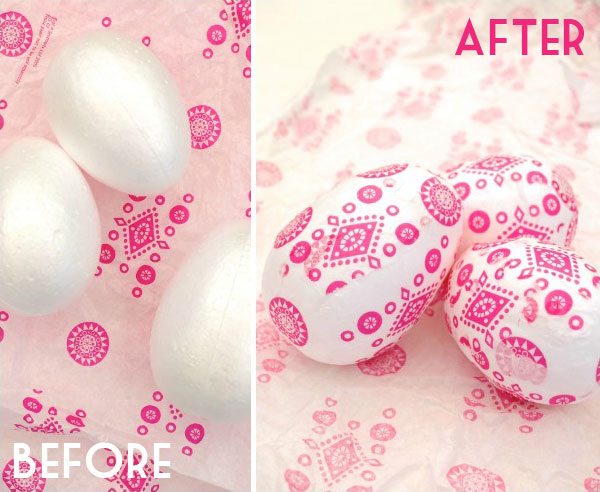 Finished decoupage Easter eggs pink and white before and after MyPoppet.com.au
