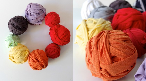 Each ball was made from one t-shirt