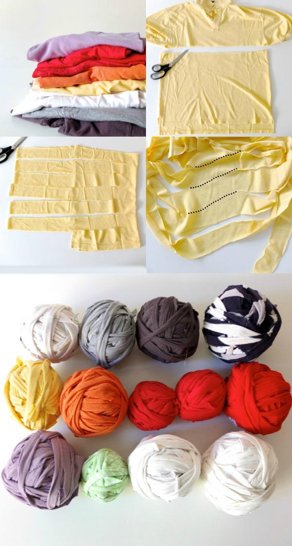 Cut Up Old Shirts To Make Rug Yarn