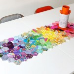 finished table runner hexagon rainbow