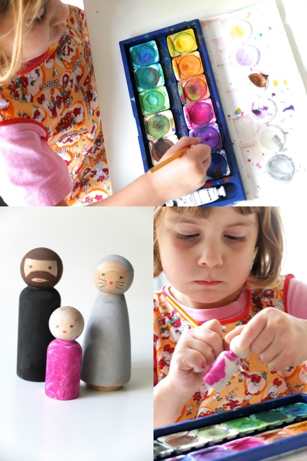 painting peg dolls pink
