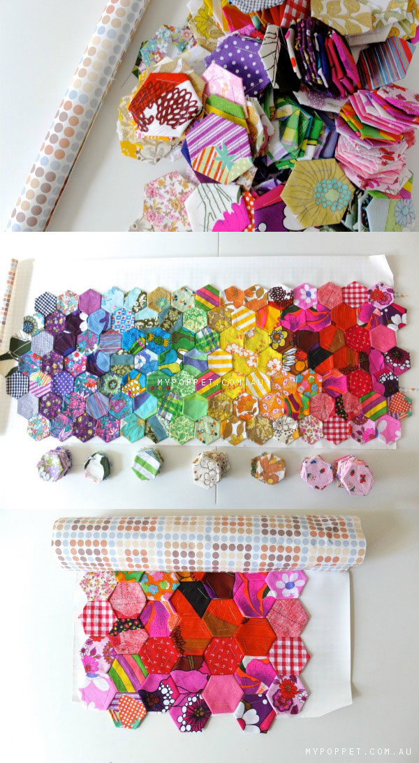 arrange patchwork pieces on contact paper to keep organized