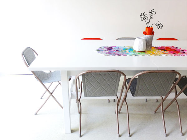 hexagon dining table modern rainbow patchwork