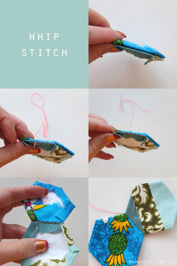how to whip stitch sew hexagons