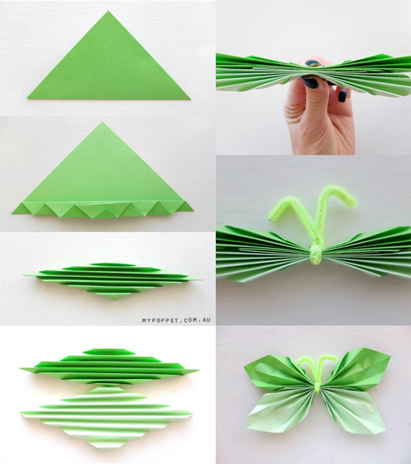 Christmas decorations using construction paper - How To Make A Origami Butterfly Step By Step With Pictures