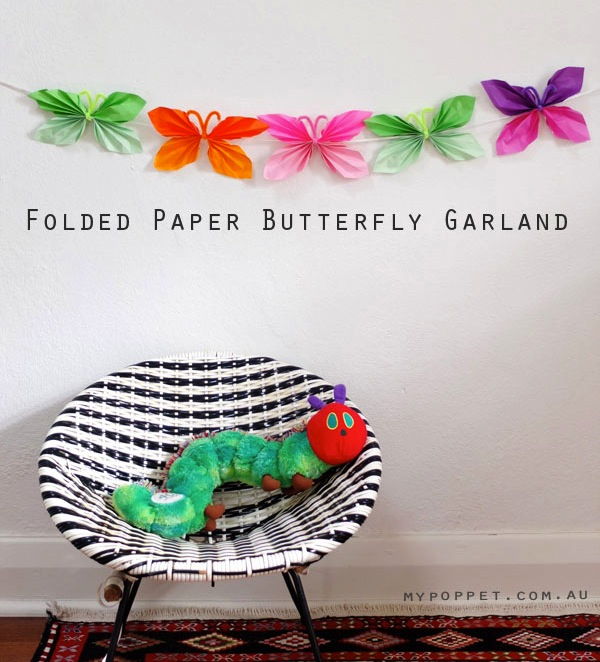 How to make: Paper Butterfly Garland mypoppet.com.au