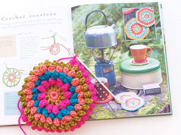 Popcorn stitch Handmade Glamping coaster pattern