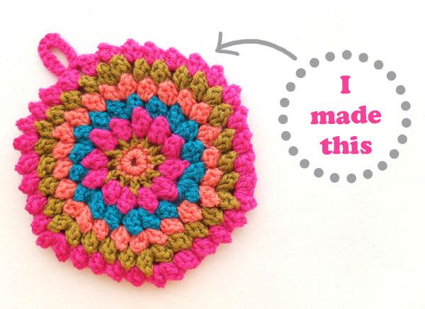 Trivet potholder crochet popcorn stitch