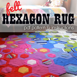 Felt Hexagon Rug PDF pattern