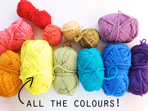 colorful yarn balls wool