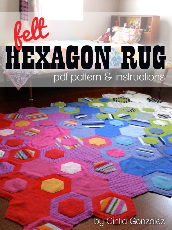 Hexagon rug sewing pattern upcycle felt