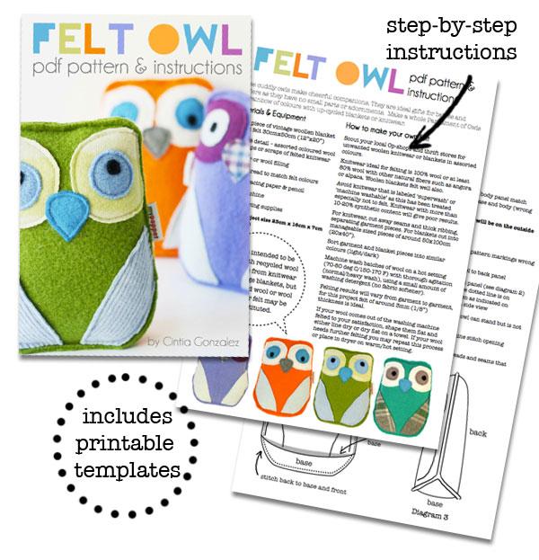 Felt owl softie plushie pattern PDF