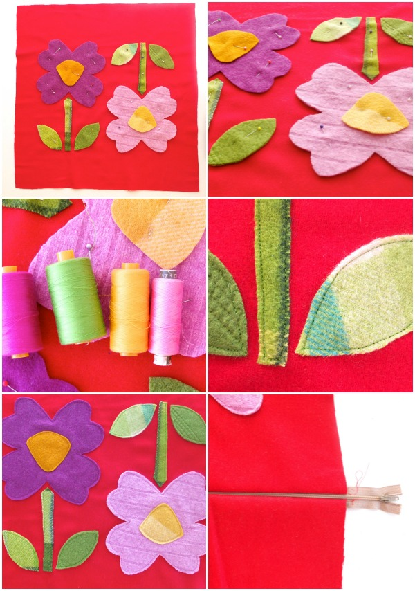 flower cushion applique steps