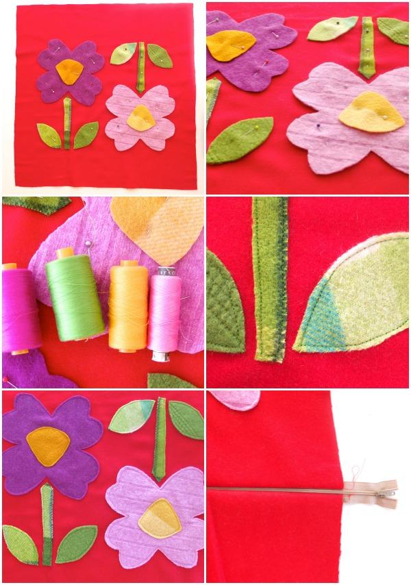 flower cushion applique steps