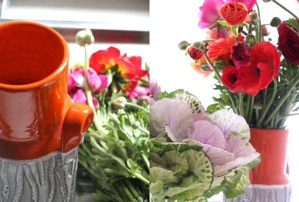 arranging flowers poppies