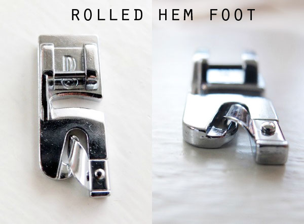 Rolled hem sewing machine foot