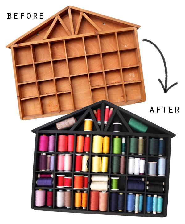 thread storage makover before and after