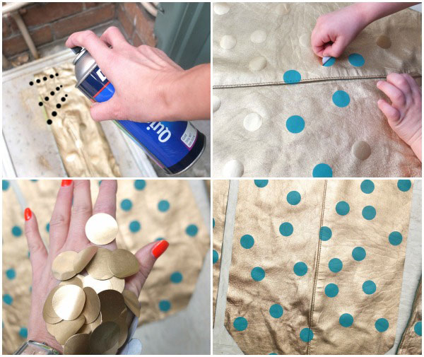 How to paint gold spots on leather tote