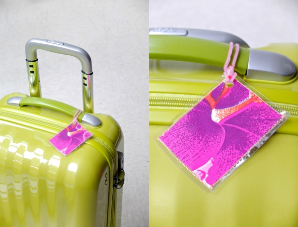 luggage tag on suitcase