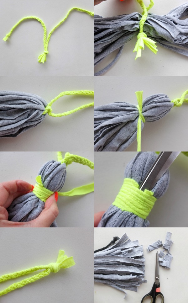 DIY home decor tassel neon grey
