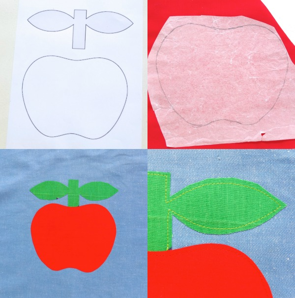 Applique apple pattern steps attaching to tote bag