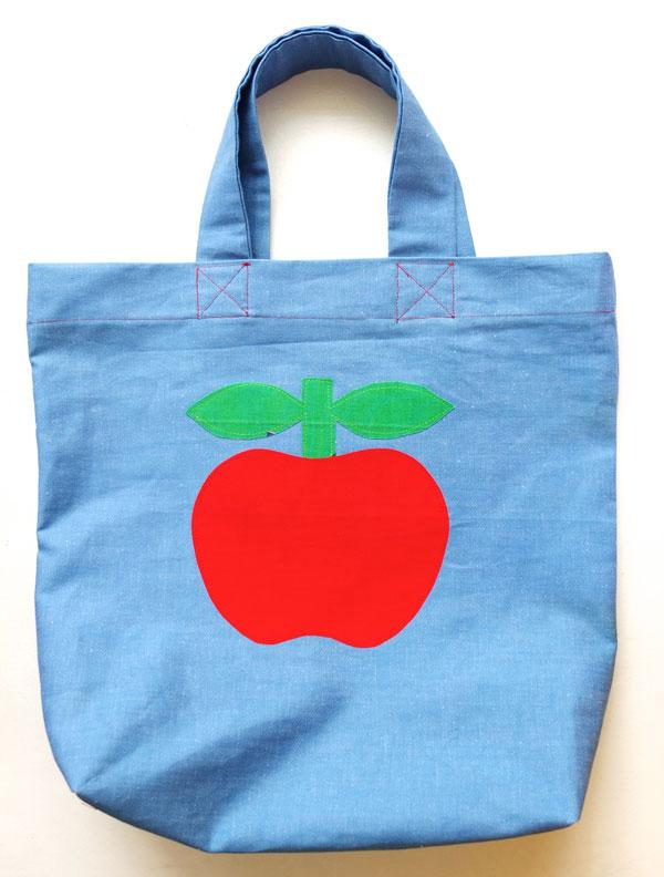 Cute apple retro tote bag denim