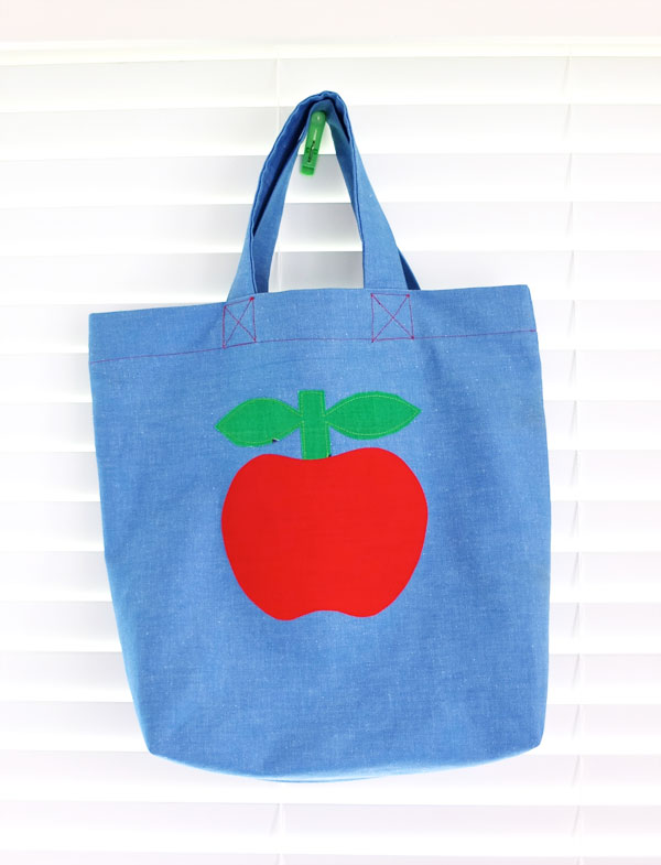 Make a tote bag easy sewing steps with red apple applique