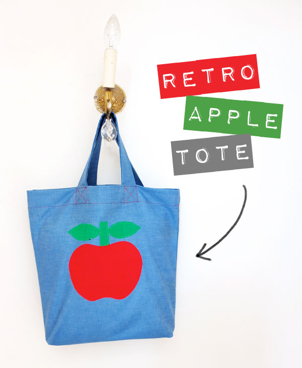 How to make a denim Apple Tote Bag, sewing steps and pattern included