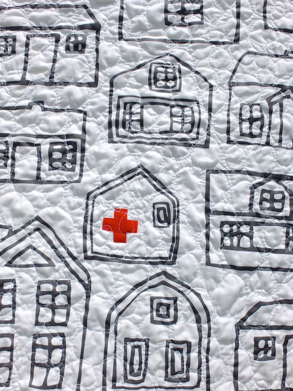 quilt back houses for red cross auction