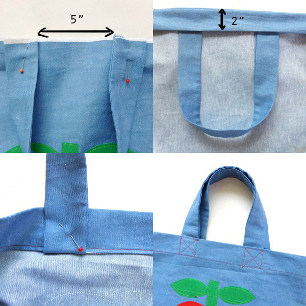 How to attach bag handles on tote bag