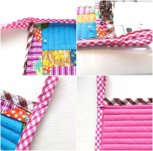 how to attach bias binding around a curve Patchwork trivet - scrapbusting project mypoppet.com .au