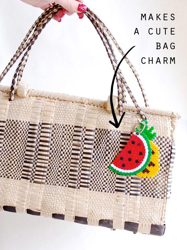 Fruit bag charm beaded watermelon pineapple summer bag