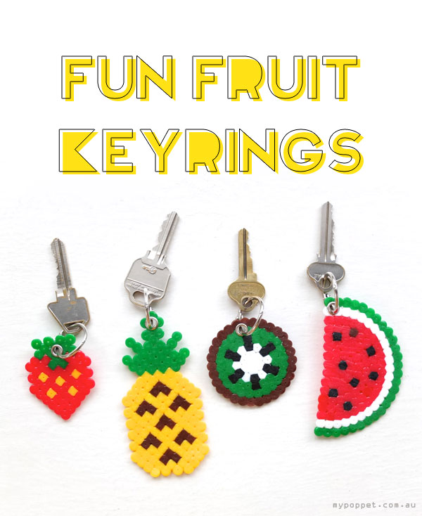 06c2edd78 DIY hama perler beads fruit keyring pineapple watermelon kiwi strawberry  kawaii gift craft
