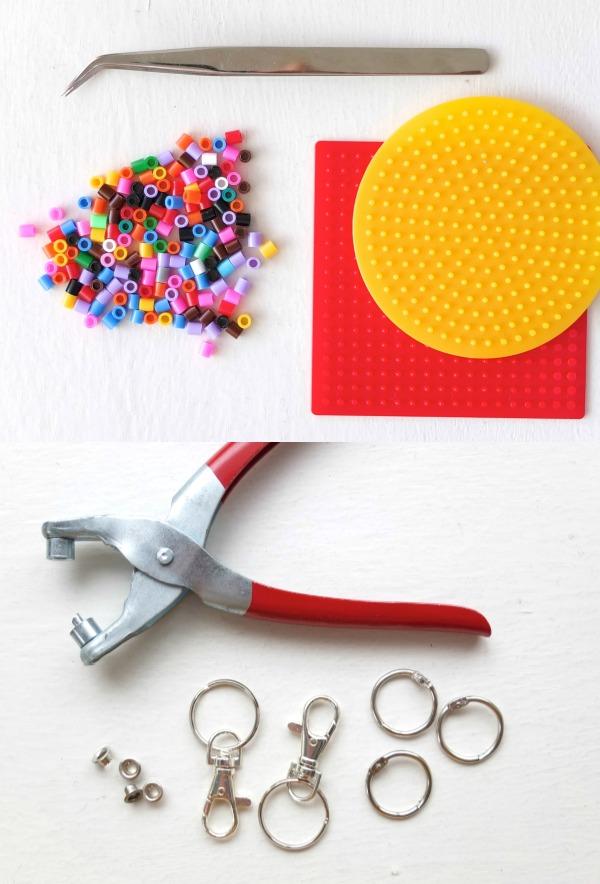 Supplies required to make fruit keyring, perler beads eyelet keyring findings