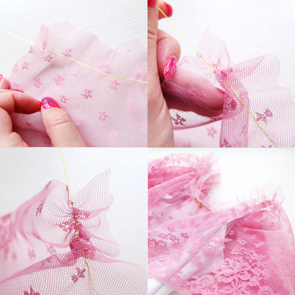 how to gather lace