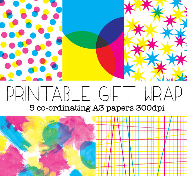 Printable gift wrap 5 styles A3 printable gift wrapping paper