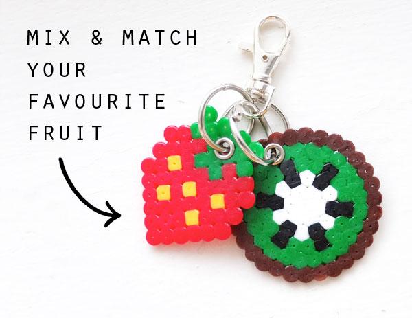 Mix and match fruit keyring charm kiwi strawberry mypoppet.com.au