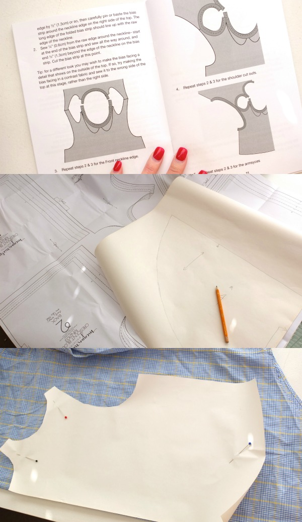 instructions and cutting pattern - crescent blouse