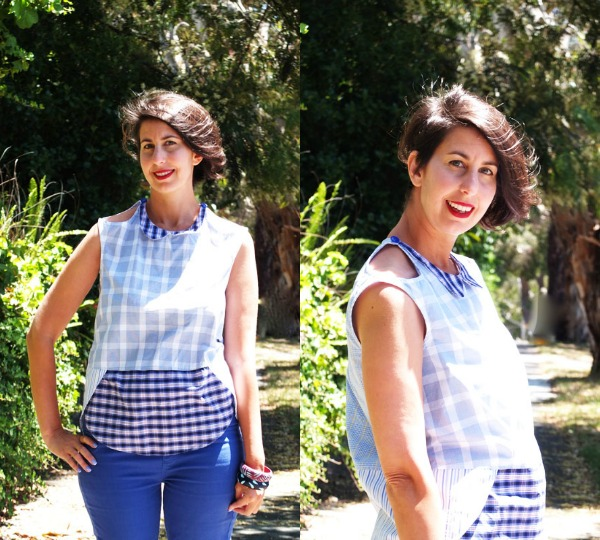 Crescent blouse by Megan Nielson made by mypoppet.com.au with old business shirts