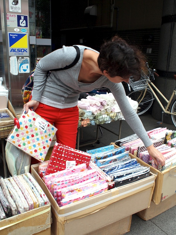 Shopping in fabric town tokyo japan