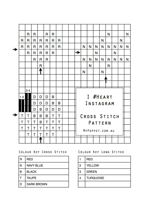 Cross stitch pattern, heart, hashtag and instagram logo Mypoppet.com.au
